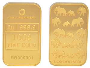 GOLD MINTED BAR – 100g 'LOXODONTA'  <div>More Info/Send Enquiry</div><b>WE SELL @ R64,525 (Incl. Vat)</b>