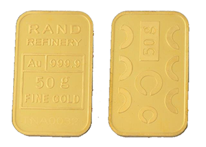 GOLD MINTED BAR &#8211; 50g &#8216;RAND REFINERY&#8217; <div>More Info/Send Enquiry</div><b>WE SELL @ R32,575 (Incl. Vat)</b>